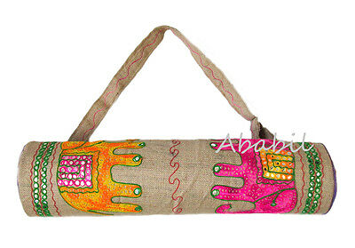 New Indian Handmade Jute Elephant Embroidered Yoga Mat Bag With Adjustable Strap