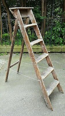 Vintage decorators step ladder; industrial retro patina Victorian Edwardian