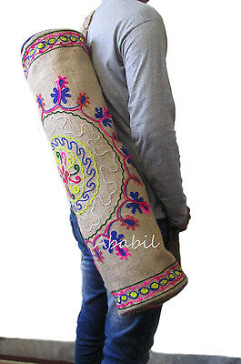 Indian Handmade Jute Floral Embroidered Yoga Mat Bag With Adjustable Strap Throw