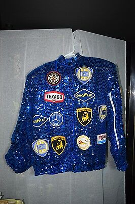 Auto Advertising Patch Blue Sequin Jacket Lamborghini Mercedes Goodyear HongKong