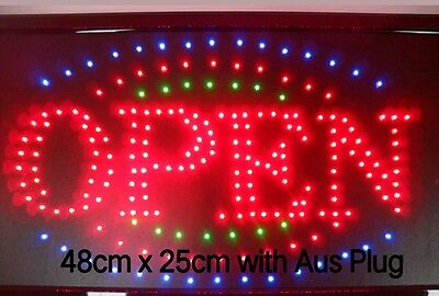 "EXTRA BRIGHT LED SIGN ""OPEN"" SIZE 48CM X25CM  RED BLUE GREEN colours"