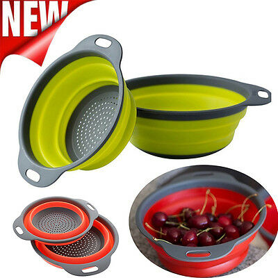 2Pcs Silicone Collapsible Colander Fruit Vegetable Strainer Food Drain Basket