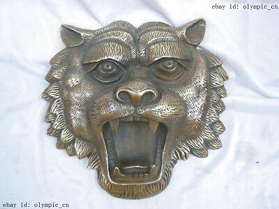 """10"""" China brass copper finely carved luck tiger Sculpture statue"""