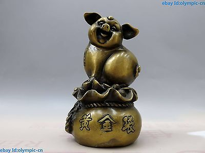 "6"" China brass copper carved lucky Gold bag make a fortune pig Sculpture Statue"
