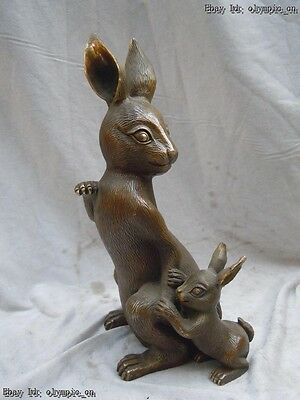 "11"" China brass copper  carved fairy Rabbit and baby Sculpture statue"