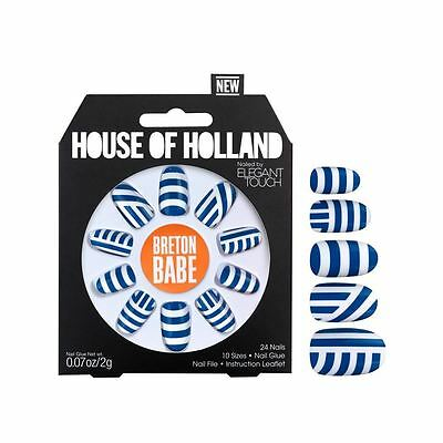 House Of Holland False Nails - Breton Babe Blue & White Striped Nails (24 Nails)