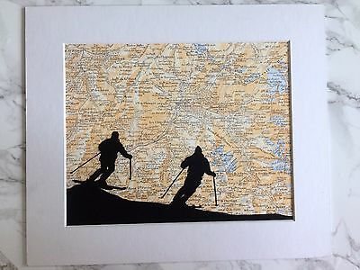 """Vintage Atlas Map Poster A4 FRENCH ALPS """"Skiing"""", + Passepartout Card Mounting"""