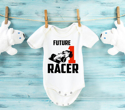 Future formula racer baby grow baby vest bodysuit. Black or white.