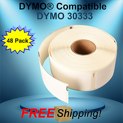Dymo® Compatible 30333 White Rectangular Shaped Adhesive Paper Thermal 48 Rolls
