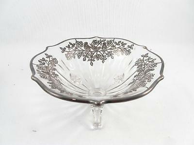 Antique/vintage Floral & Bird Silver Overlay Footed Bowl