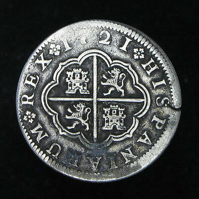 1721-F Spain 2 Reales silver coin KM#297 slightly bent
