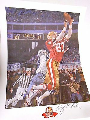 Dwight Clark The Catch SF San Francisco 49ers Signed Autographed Football Litho