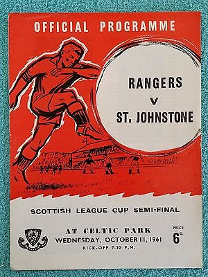 1961 - SCOTTISH LEAGUE CUP SEMI FINAL PROGRAMME - RANGERS v ST JOHNSTONE