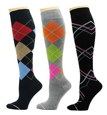 3 Pairs Dr Motion Therapeutic Graduated 8-15mm Compression Women's Knee-hi Socks