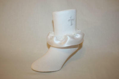 Girls White Nylon-Cotton Bobby Socks with White Lace Ruffle and Applique Cross