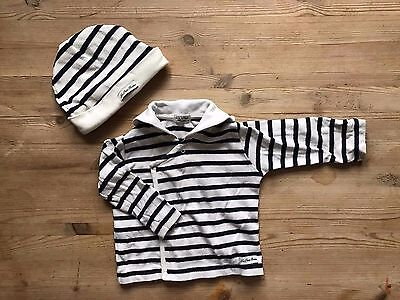 THE LITTLE BRETON COMPANY wrap jacket and hat 9 months navy and white stripe