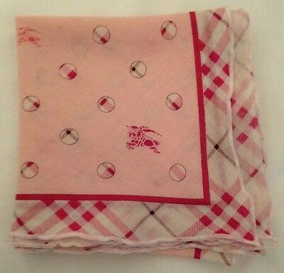 Authentic Burberry Handkerchief or Neck scarf, Headband, Bandana,  cotton, Pink