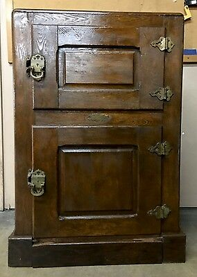 Antique Wood The New Iceberg Raised Panel 2-Door Icebox Ice Box Sheboygan 1890s