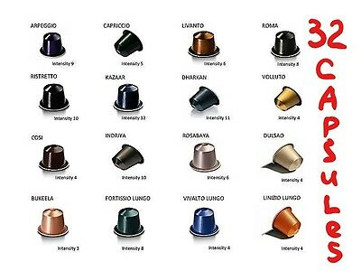 Nespresso Coffee Sampler Pack, 32 x Capsules, 16 Flavors  (Sold Loose)