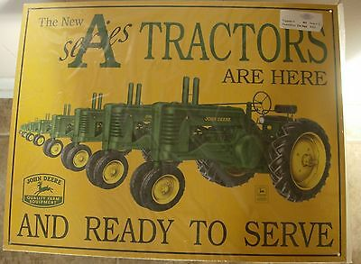 New Htf John Deere A Series Tractor Tin Metal Sign Retired Usa Sealed W/ Sticker