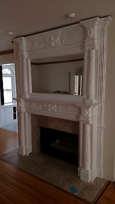 Vintage Fireplace Mantle Ornate With  Mirror And Columns Floor To Ceiling