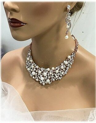 Rose gold Pearl Bridal Jewelry Bib Necklace Earring Set fashion jewelry set
