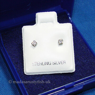 Small Tiny Little 2mm Round 925 Silver Ear Studs Diamond Cut Crystal Earrings