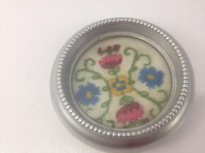 Vtg Silver Coasters Needlepoint Flowers Cross stitch Floral Hong Kong