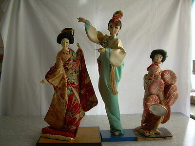 "Lot of 3 Asian Antique Dolls All Original 20"" & 18"" & 14"" on their stands."
