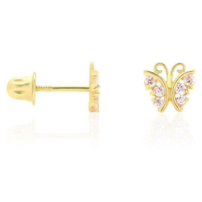 Pink Tourmaline Butterfly Baby Screw Back Stud Kid Earrings 14K Real Yellow Gold