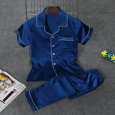 Girl Kids Boy Short Sleeve Imitation Silk Pajamas Sleep  Summer Set Nightgown
