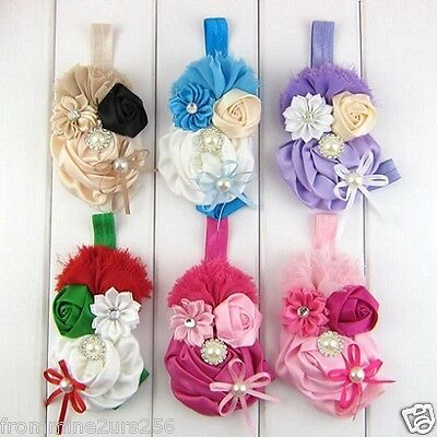 Baby Toddler Girls Shabby Flower Bow Pearl Headband Vintage Hairband Headwear