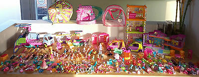 Polly Pocket Lot ~ Dolls Clothes Accessories cars Bus Carrying Case & ++++