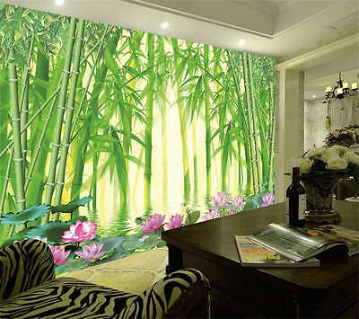 Bamboo Forest Lotus Full Wall Mural Photo Wallpaper Print Kids Home 3D Decal