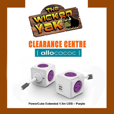 PowerCube 1.5m PURPLE Extended USB Powerboard 4 Outlets 2 USB Ports FREE SHIP