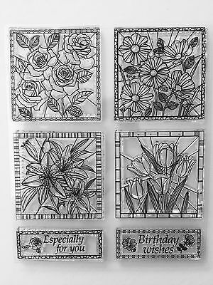 NEW• BIRTHDAY FLOWERS STAINED GLASS Stamping Clear Unmounted Stamp 6pc SET