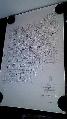 Vintage 1991 Jennings County Indiana Map B/W Graphics Engineering INDOT USDOT