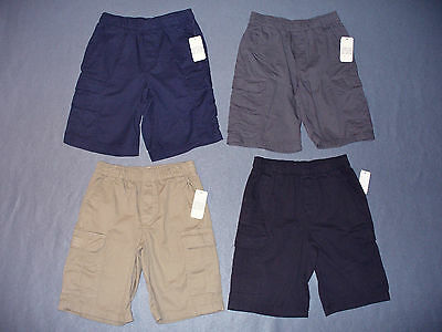 NWT Boy's Solid Pull on Cargo Shorts - U Pick Size and Color - Reg + Husky