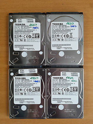 "4x 500gb Toshiba 2.5"" Laptop Hard Drives HDDs, All Tested & Working Fine!"