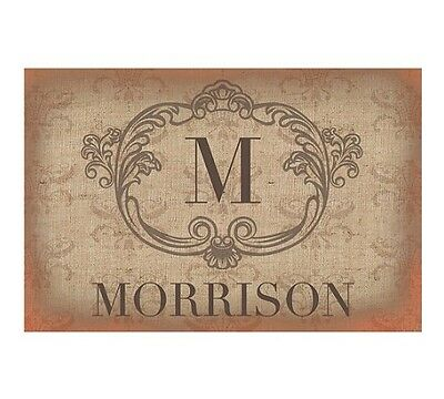 Personalized Vintage Family Name Monogram Initial Doormat Home Decor Gift