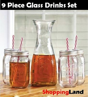 9 Piece Glass Jug Set Water Drinks Beverage Pitcher 4x Glasses Straws Glassware