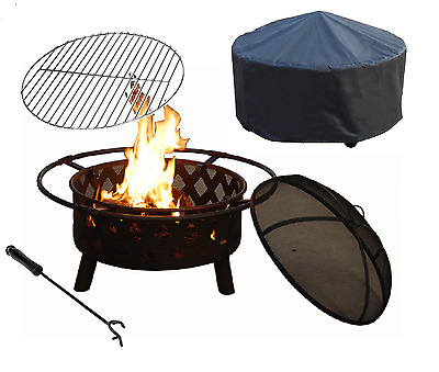 """Crossweave 30"""" Fire Pit Patio Backyard BBQ Ball Steel with grill and cover"""