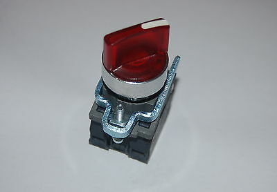 1PC  22mm ILLUMINATED RED Select switch 2 Position Maintained Fits XB4BK124B5