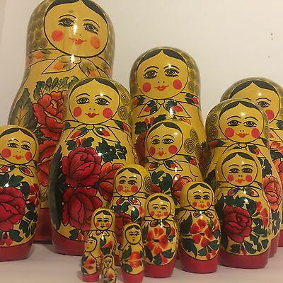 "Russian Nesting Doll 15 Pc Babushka 15"" Stacking Matryoshka Vintage USSR DAMAGED"