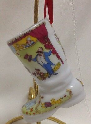 2002 In The Ring  Annual China Christmas Boot Ornament By Hutschenruther