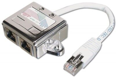 Ecoline AK1521 Patchkabel Netzwerkkabel Ethernet Adapter 2x  1xRJ45 Cat5e