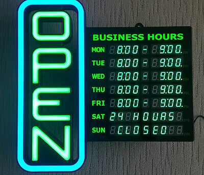 "LED Neon look - ""OPEN"" with Business Hours Sign"