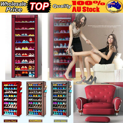 27 Pair Shoe Rack Shoes Cabinet DIY Storage Organizer Shelves Stand W/ Cover