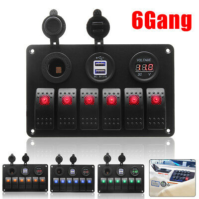 12V/24V 6 Gang LED Rocker Switch Panel Circuit USB Charger Voltmeter Boat Marine