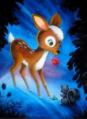 CHRISTMAS DEER artist signed print (11 3/4 x 8 1/2 inches)
